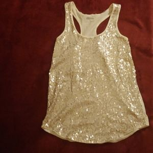 Express pale gold sequin tank top XS